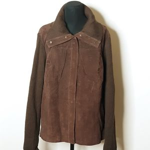 Bagatelle Brown Sueve Leather Sweater Jack…